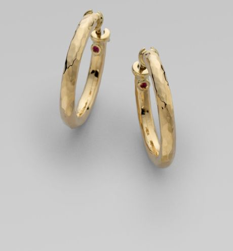 Roberto Coin 18k Yellow Gold Hammered Hoop Earrings/1&frac14 in Gold (yellow)