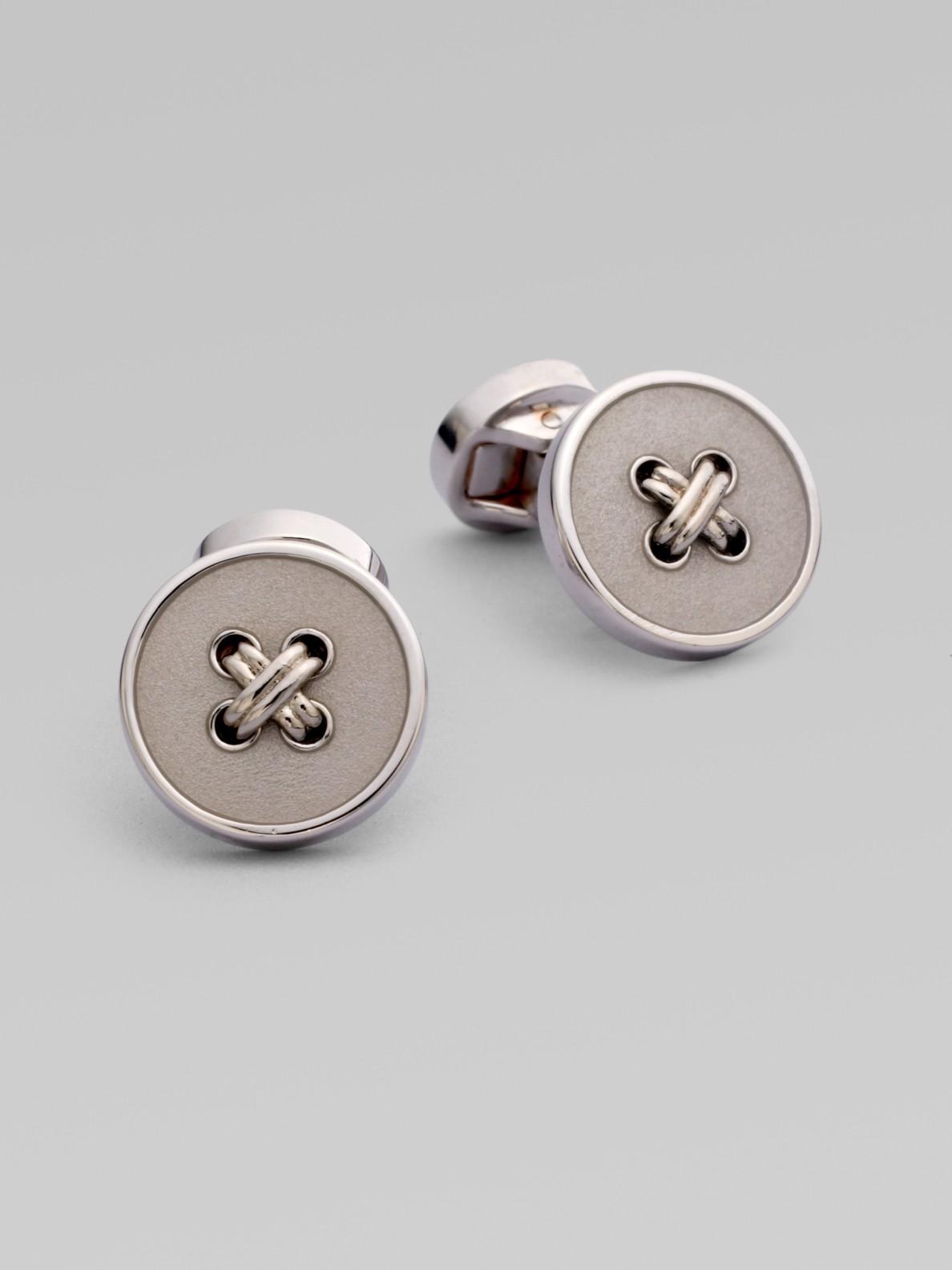 Saks Fifth Avenue Sterling Silver Button Cufflinks in Silver for Men ...
