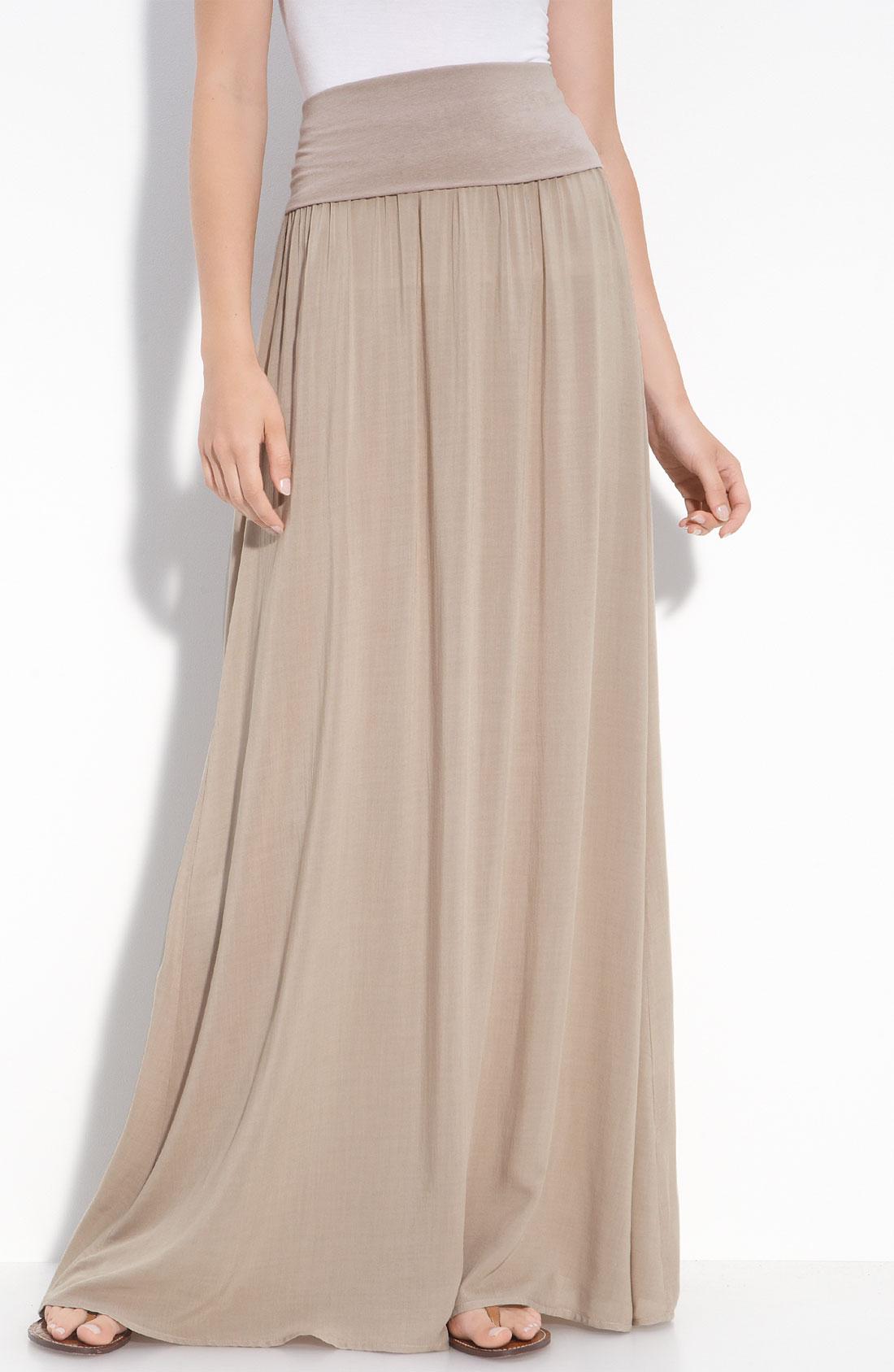 splendid maxi skirt in beige almond lyst