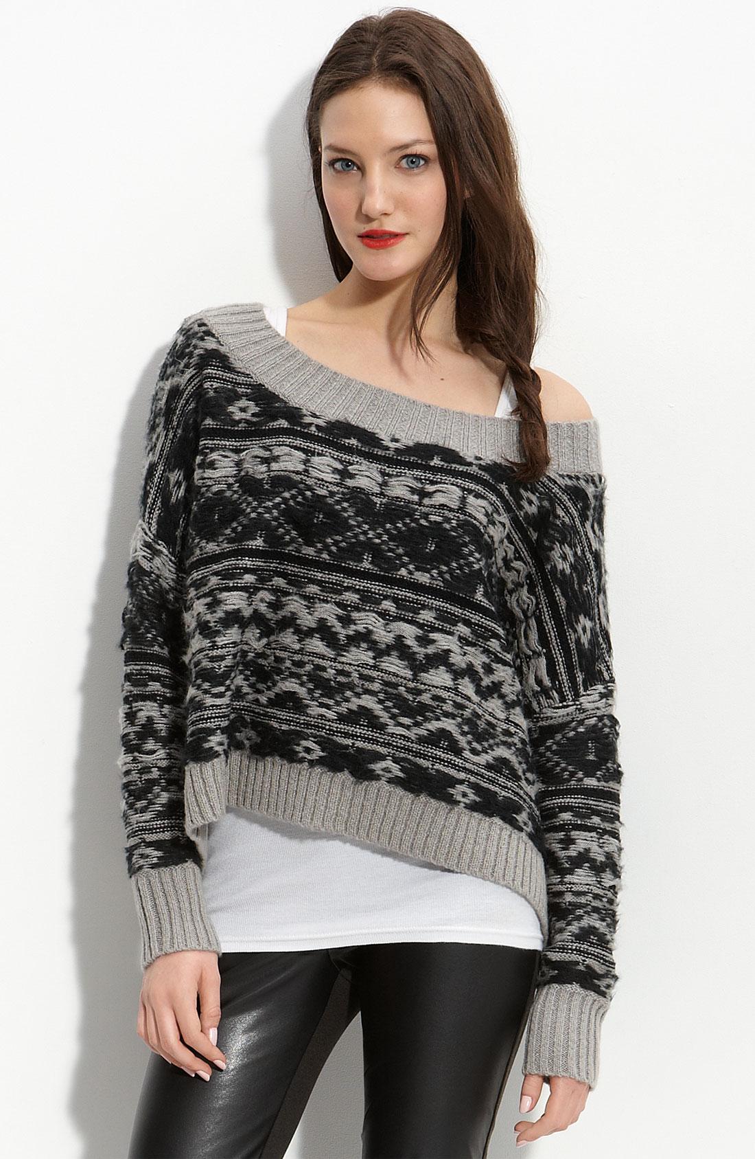 Trouvé Fair Isle Sweater in Black | Lyst