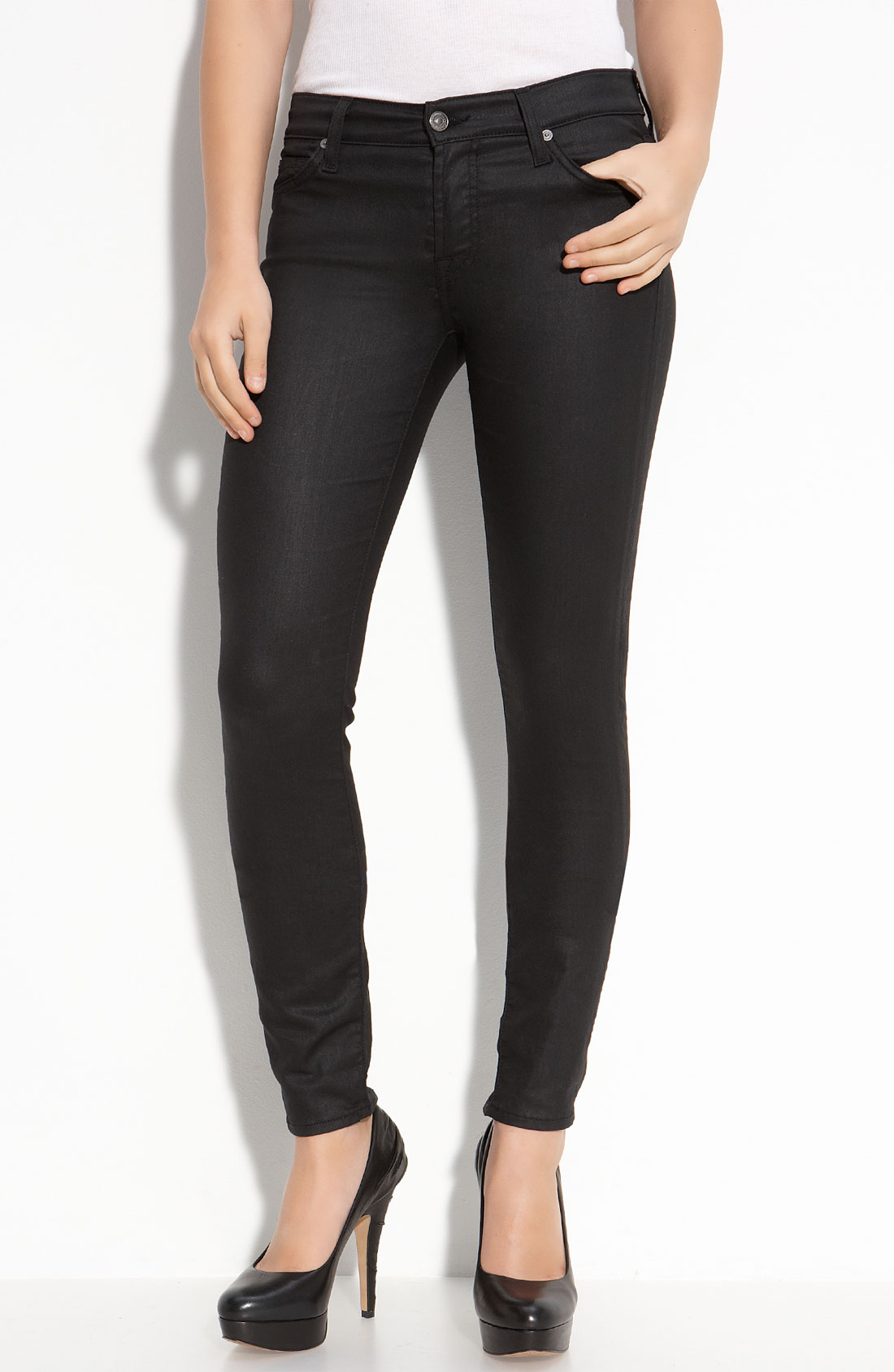 7 for all mankind The Shiny Skinny Jeans (black Shiny ...