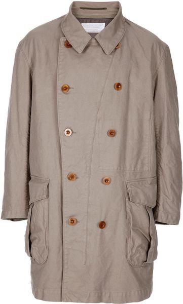 Kolor Double Breasted Coat in Beige for Men