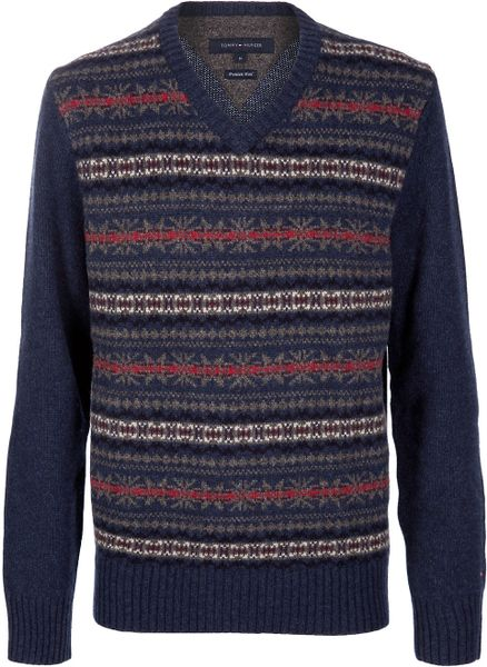 Tommy Hilfiger Wool Sweater in Blue for Men