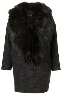 Topshop Tweed Faux Fur Collar Boyfriend Coat - Lyst