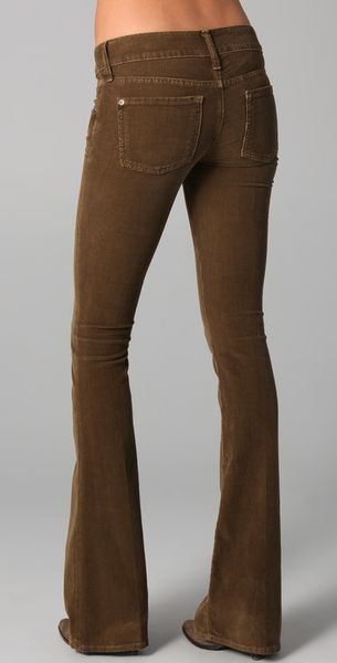 Vince Flare Corduroy Pants In Green Camel Lyst