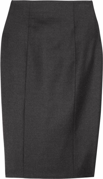 laurent wool flannel pencil skirt in gray lyst