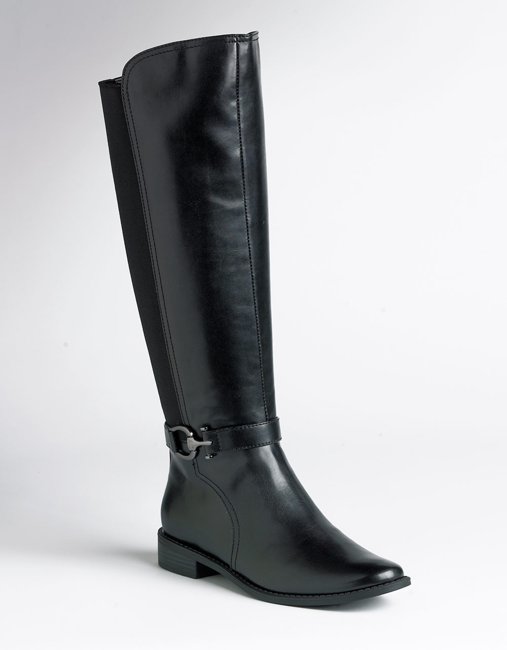Ak Anne Klein Carlene Riding Boots In Black Black Leather