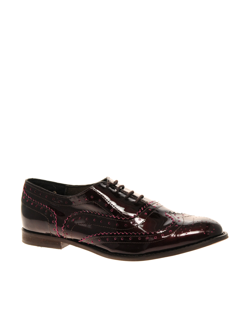 asos asos marky patent leather lace up flat shoe in brown