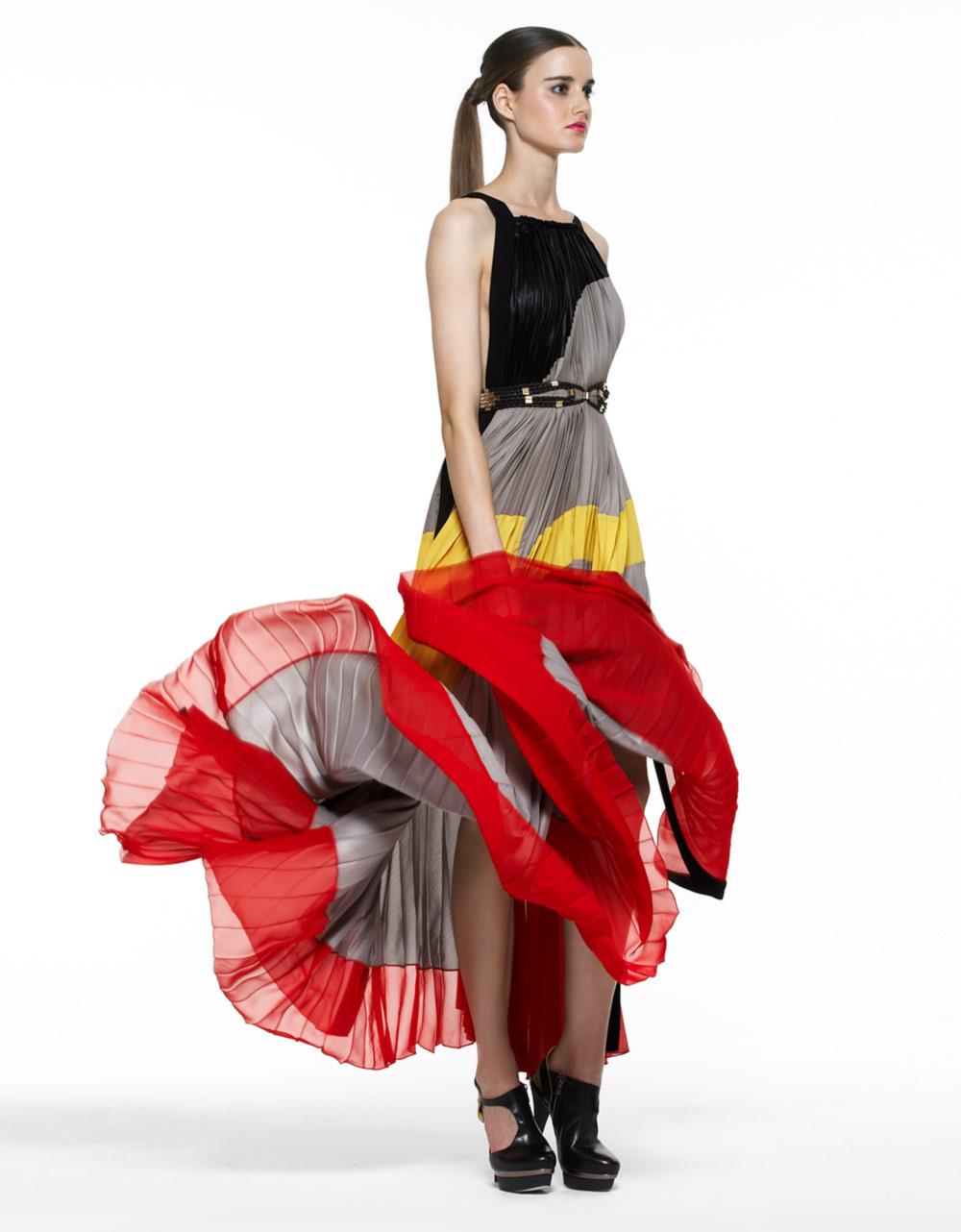 3612e59138 Lyst - Bcbgmaxazria Runway Kamille Long Sateen Color-blocked Dress