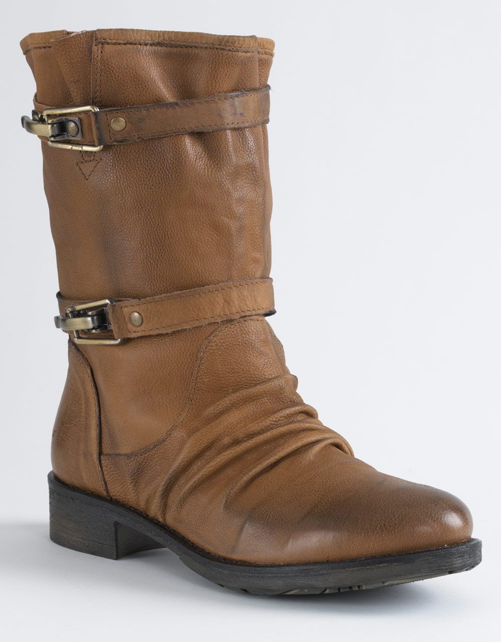 boutique 9 caia belt buckle boots in brown brown