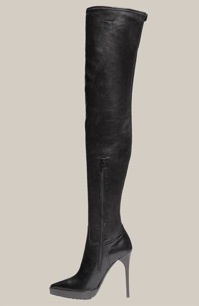 burberry stretch leather thigh high platform boot in black