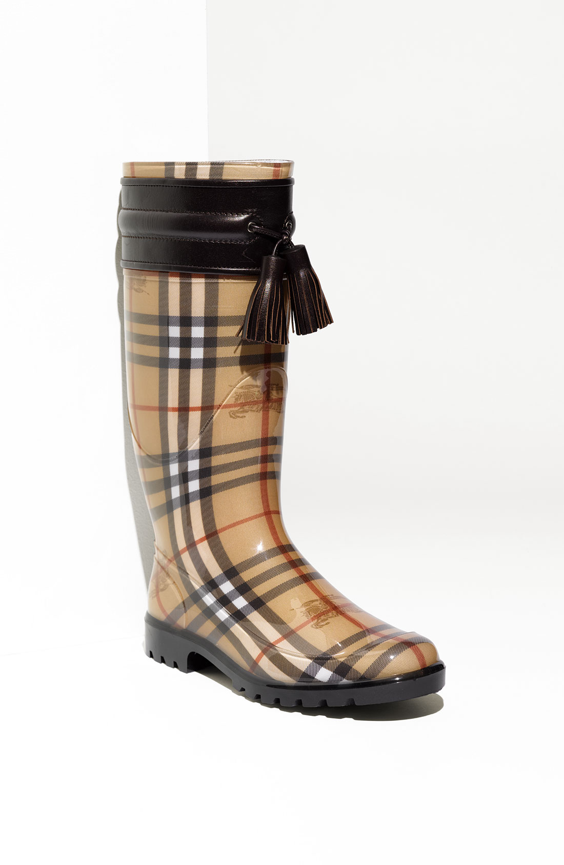 burberry leather trim rain boot in brown dark chocolate