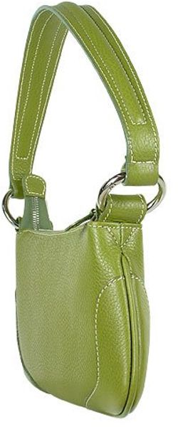 Buti Front Zip Green Italian Nappa Leather Baguette Bag In