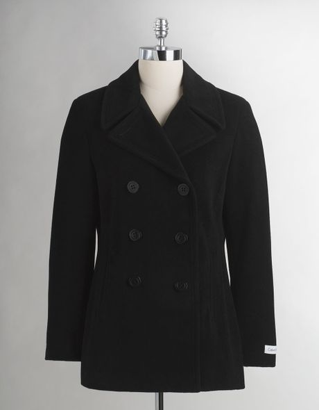 Calvin Klein Wool Pea Coat in Black | Lyst