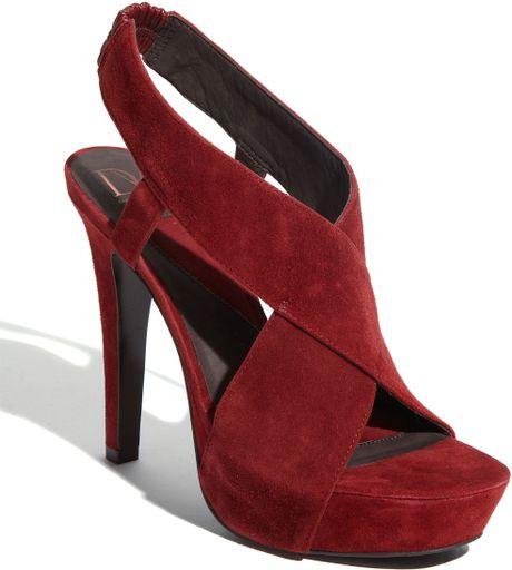 Diane Von Furstenberg Cranberry Zia Suede Platform Sandal