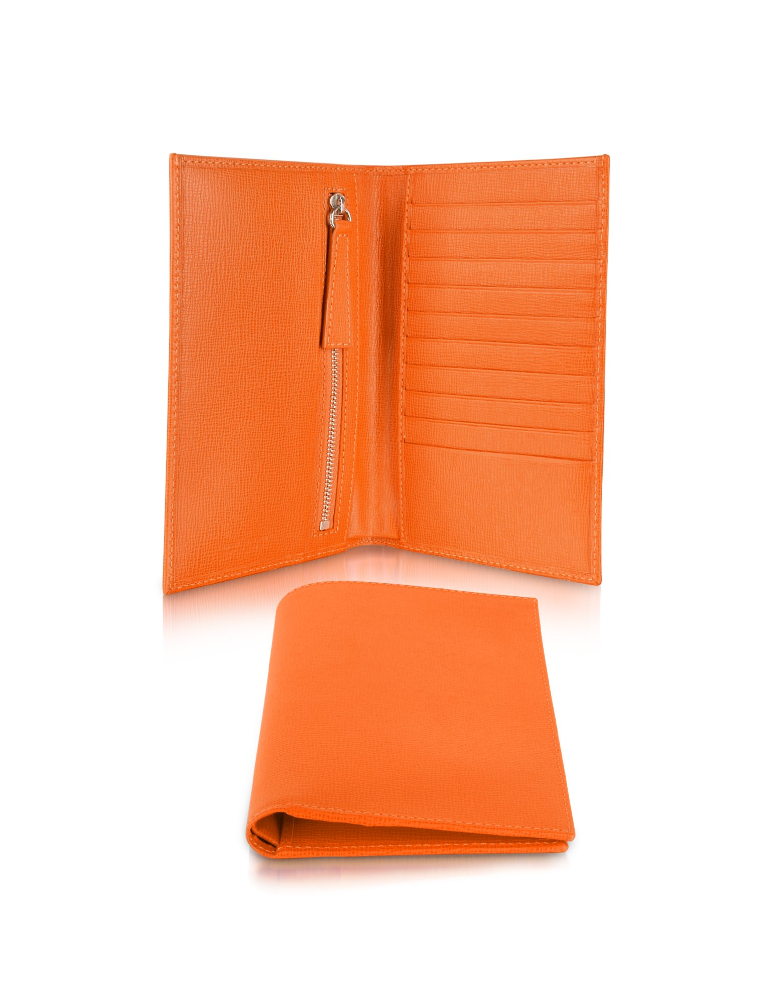 giorgio fedon 1919 class orange grained leather document card holder wallet in orange lyst. Black Bedroom Furniture Sets. Home Design Ideas