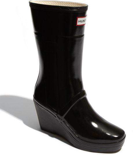 Hunter Kellen Wedge Heel Rain Boot In Black Lyst