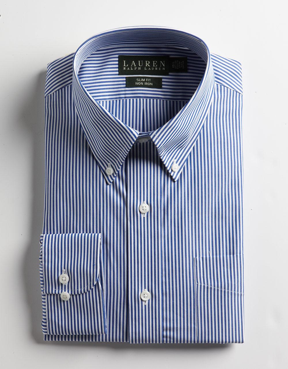Lauren by ralph lauren non iron slim fit dress shirt in for Non iron slim fit dress shirts