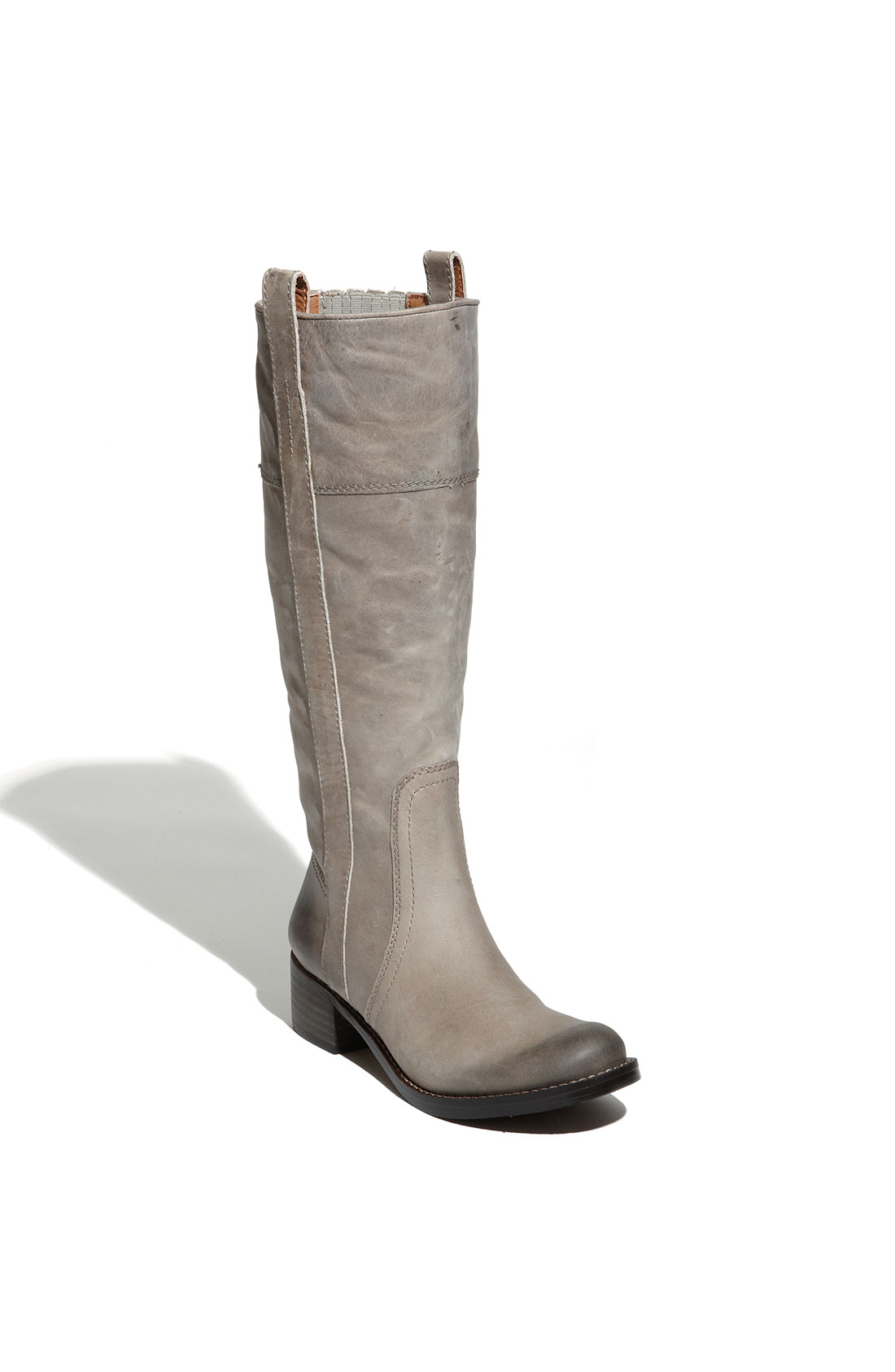 lucky brand hibiscus leather boots in silver light