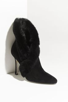 Manolo Blahnik Nesta Genuine Rabbit Fur Trim Bootie - Lyst