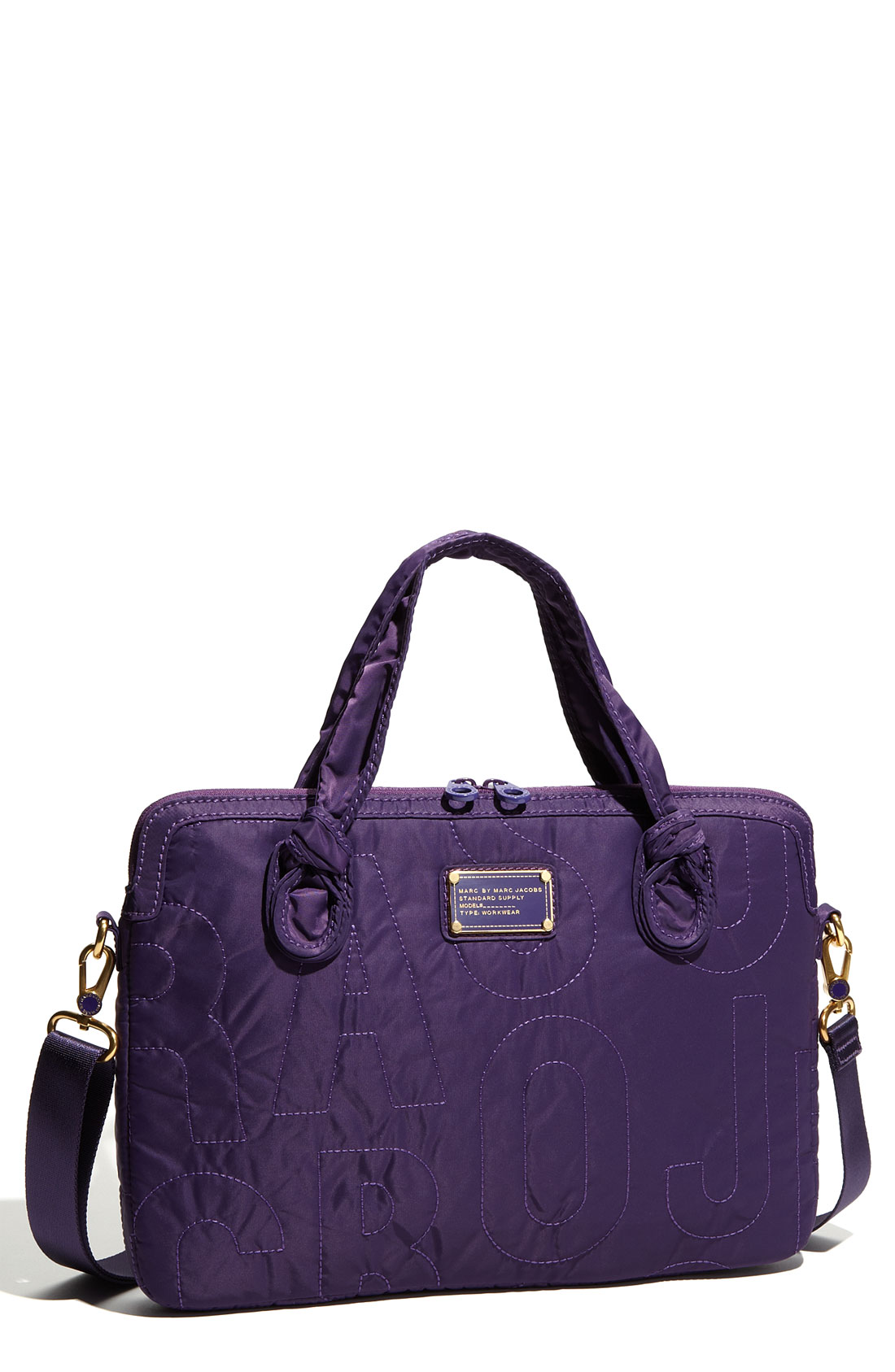 marc by marc jacobs pretty nylon 15 laptop commuter case in purple bright grape lyst. Black Bedroom Furniture Sets. Home Design Ideas