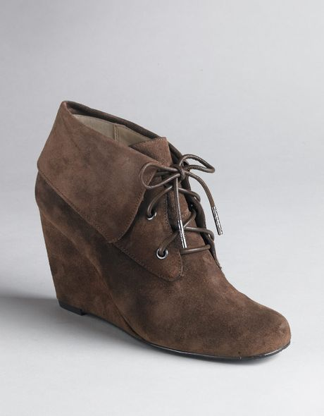 michael michael kors lace up wedge boots in brown