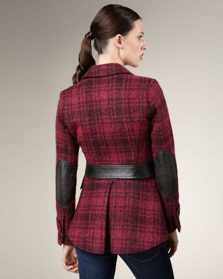 Smythe Plaid Leather-patch Jacket in Red (magenta) | Lyst
