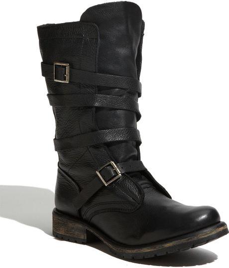 steve madden banddit buckle boot in black black leather