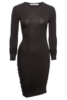 Long Black Dress  Sleeves on Wang Pique Shiny Knit Draped Long Sleeve Dress In Black   Lyst