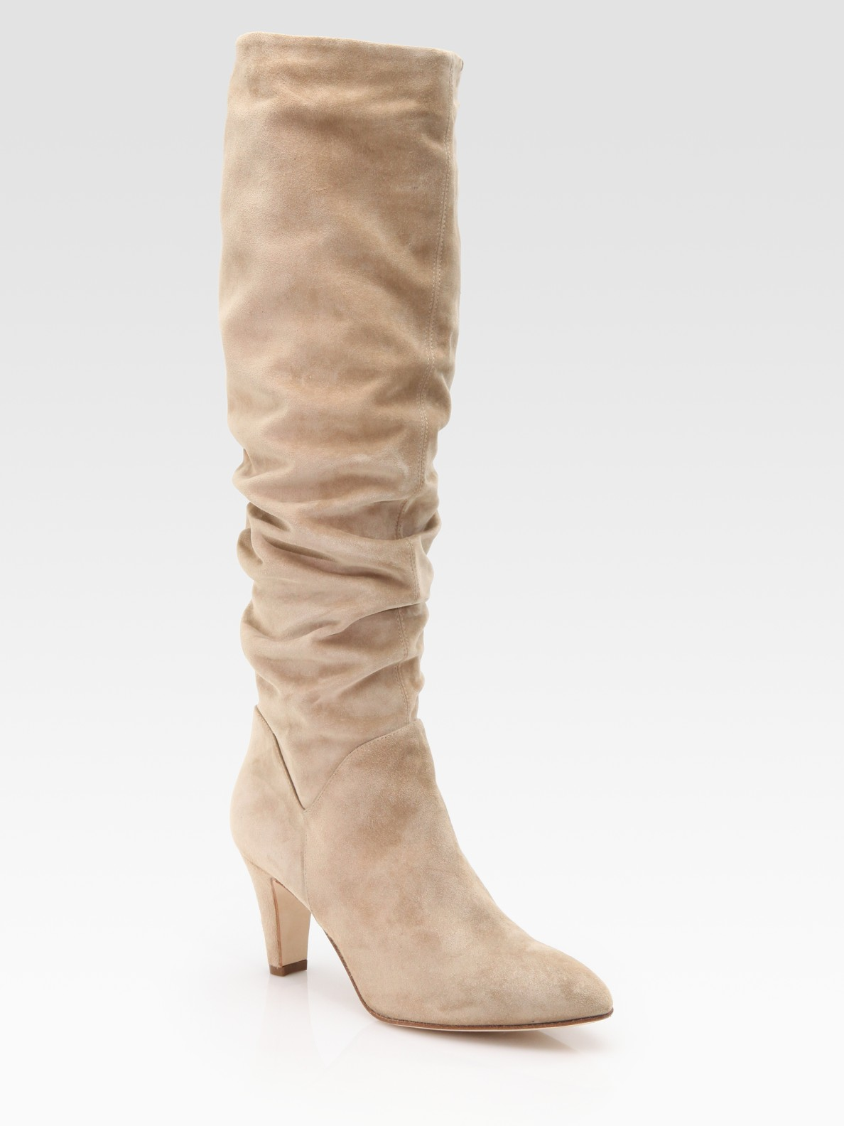 brian atwood berton scrunched suede and velukid knee high