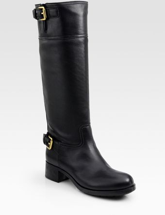 Prada Leather Knee-high Buckle Boots - Lyst