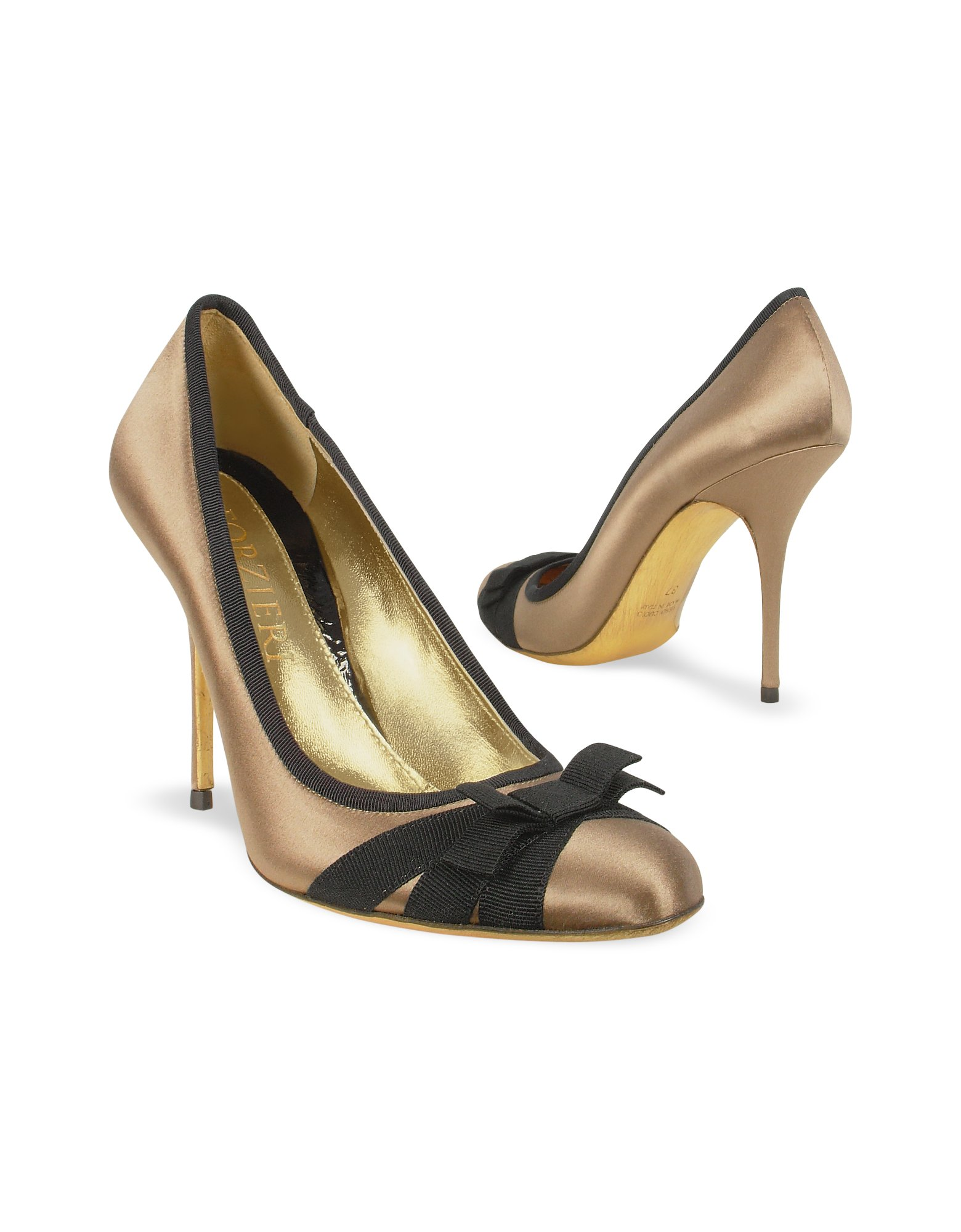 forzieri black bow taupe satin and leather pump shoes in
