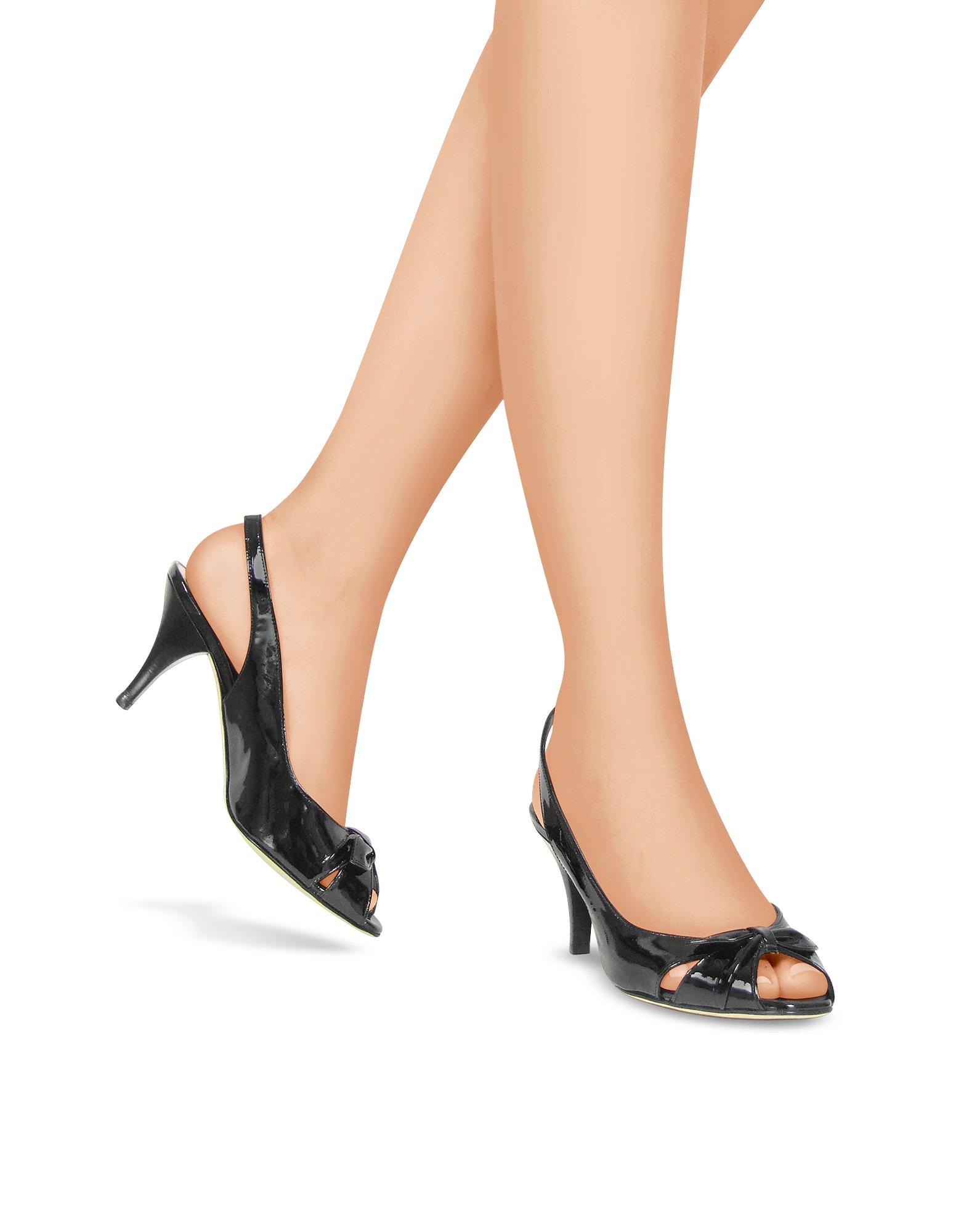 Black Patent Peep Toe Slingback Shoes