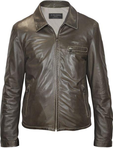 Forzieri Men'S Dark Brown Genuine Leather Motorcycle Jacket in Brown