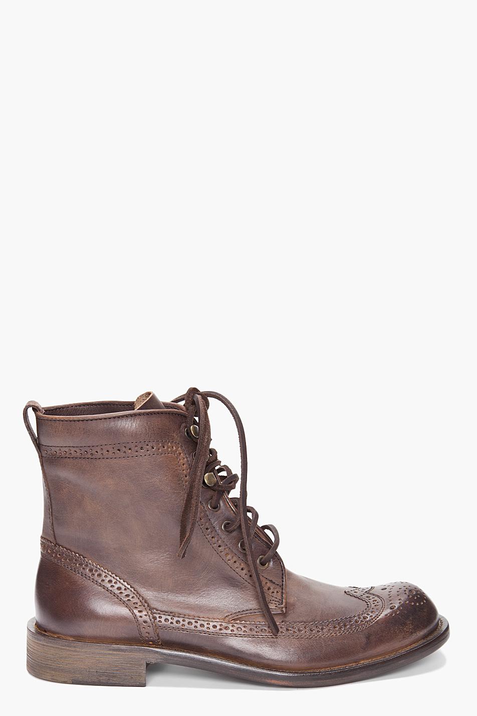 John Varvatos Wingtip Boots In Brown For Men Lyst