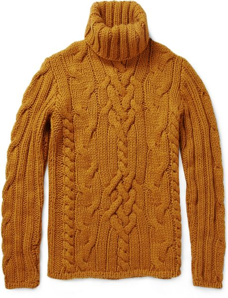 Simon Spurr Cable Knit Cashmere Roll Neck Sweater In