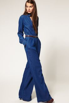 ASOS Collection Asos Denim Frill Collar Jumpsuit - Lyst