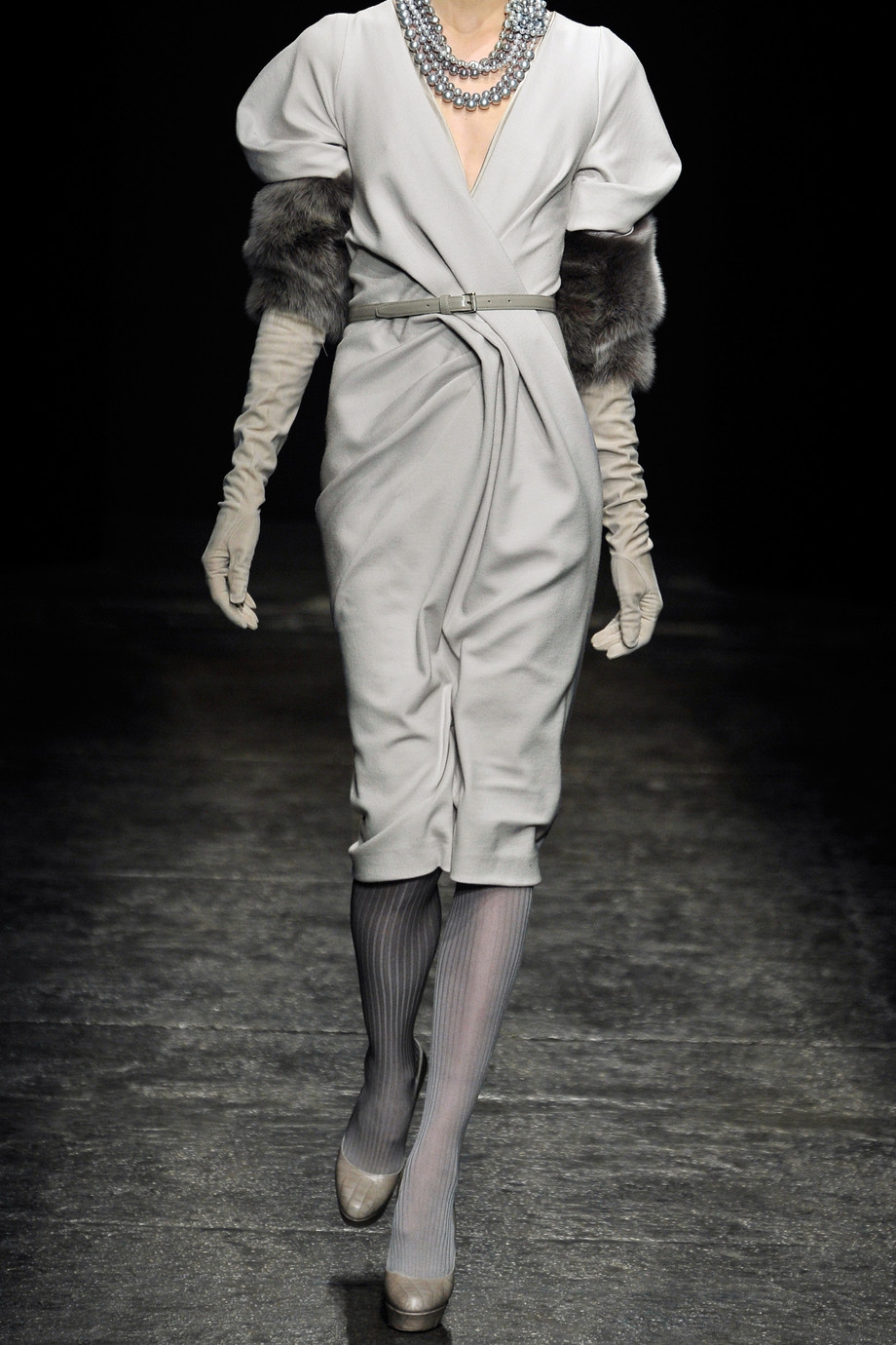 Lyst Donna Karan Belted Stretch Wool Blend Dress In Gray