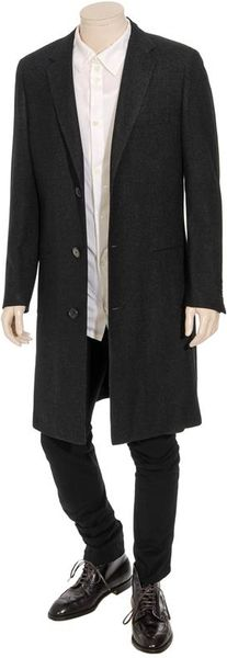 Lanvin Cashmere Overcoat With Micro Houndstooth Pattern In