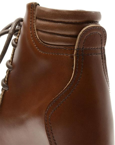 Brown Faux Leather Leather Boots With Faux