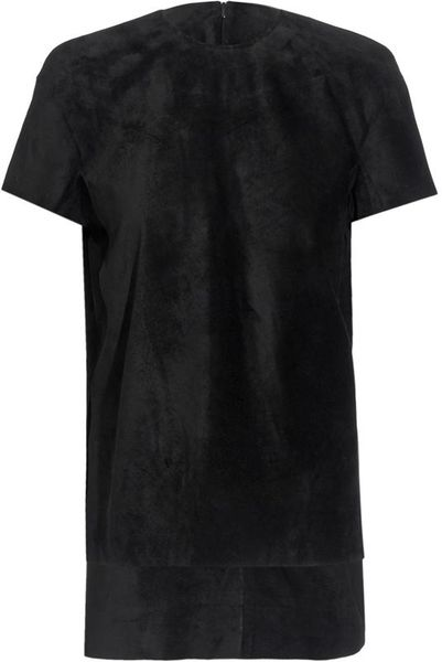 Thomas Tait Structured Suede Top in Black