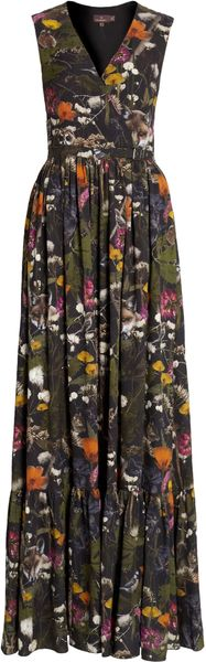 Mulberry Long Tillie Wrap Dress in Floral (gunmetal)