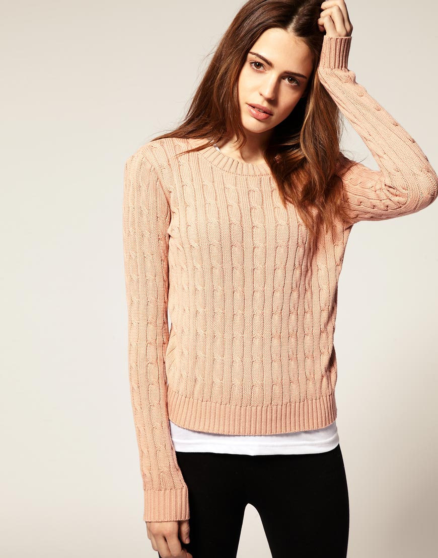 American apparel Cable Knit Jumper in Pink | Lyst