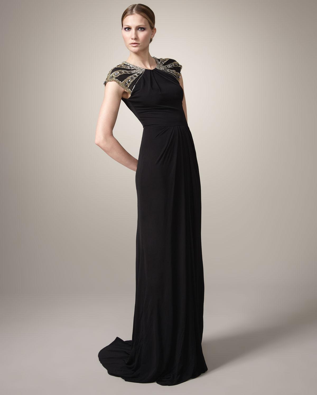 Lyst - Badgley Mischka Beaded-shoulder Gown in Black