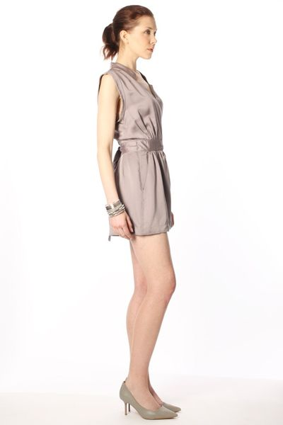 French Connection Pella Drape Jumpsuit in Brown (carob)