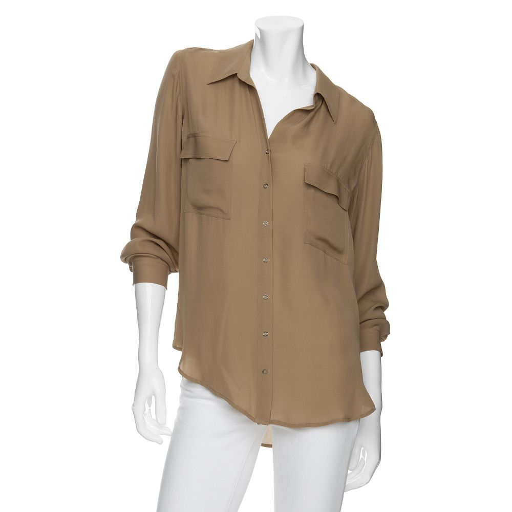L 39 Agence Oversized Silk Button Down Shirt In Beige Camel