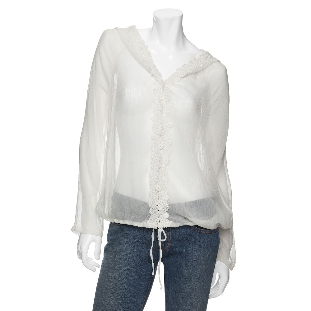 Lyst love sam floral embroidered chiffon hoodie in white