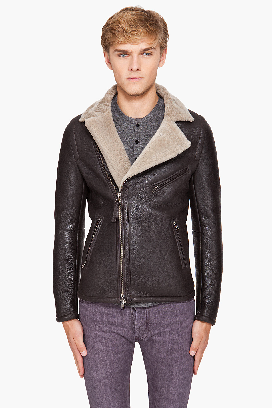 Lyst Mackage Sheepskin Leather Jacket In Brown For Men