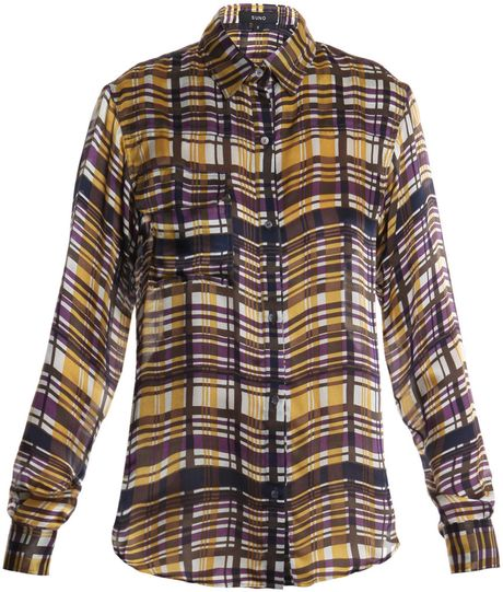 Suno Plaid Silk-satin Shirt in Brown (yellow)