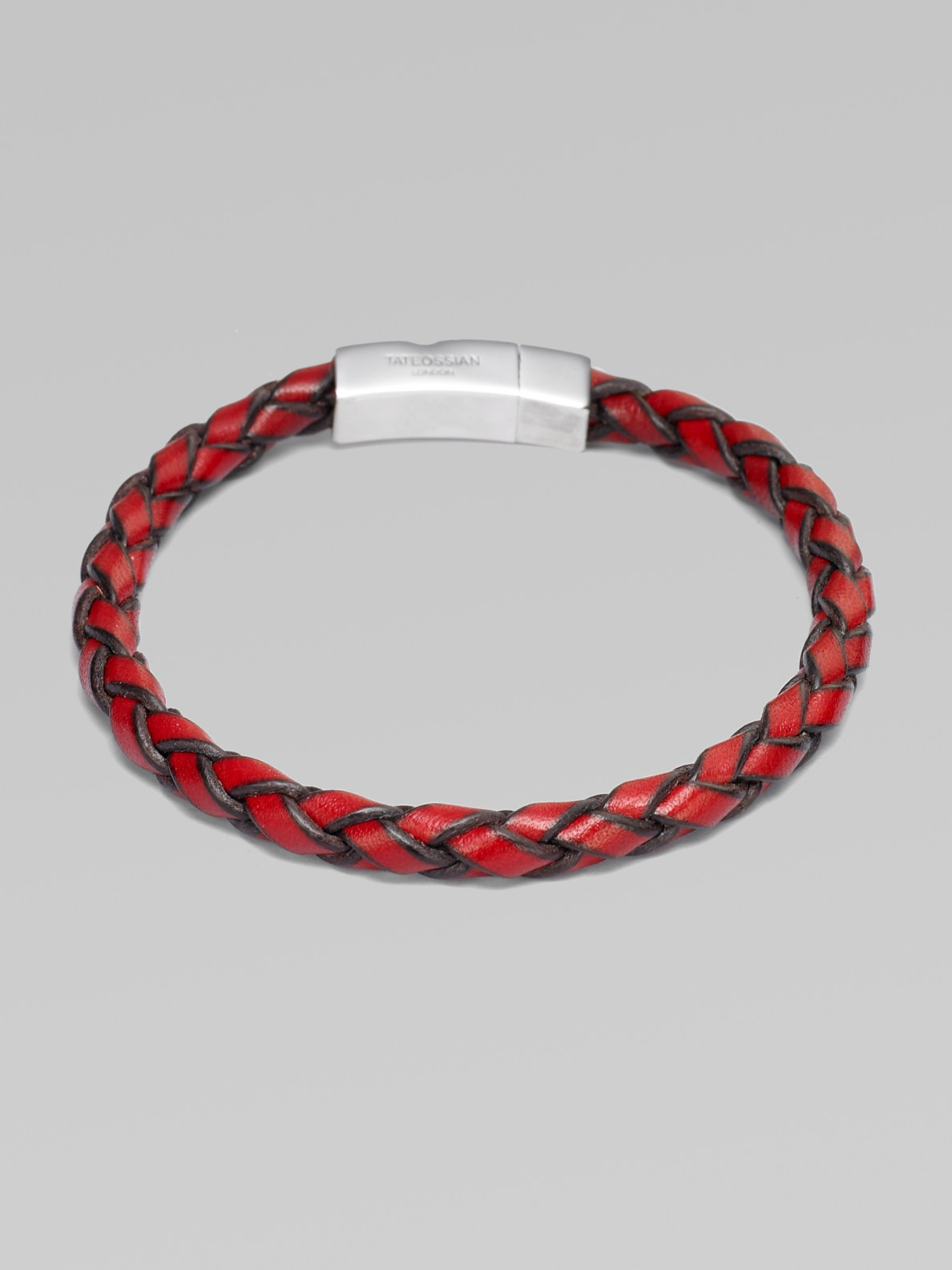 Tateossian Hand Braided Leather Bracelet In Red For Men Lyst